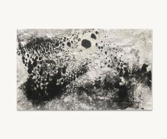 Ash Ceniza #9, (drawing, black and white, abstract, expressionist, ashes, paper)