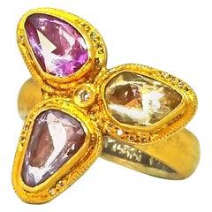 Kurtulan Handmade 2.72 Carat Rose Cut Sapphires Diamond Floret Ring Signed