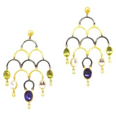 Kurtulan Handmade 9.89 Carat Rose Cut Multi Gemstone Chandelier Drop Earrings