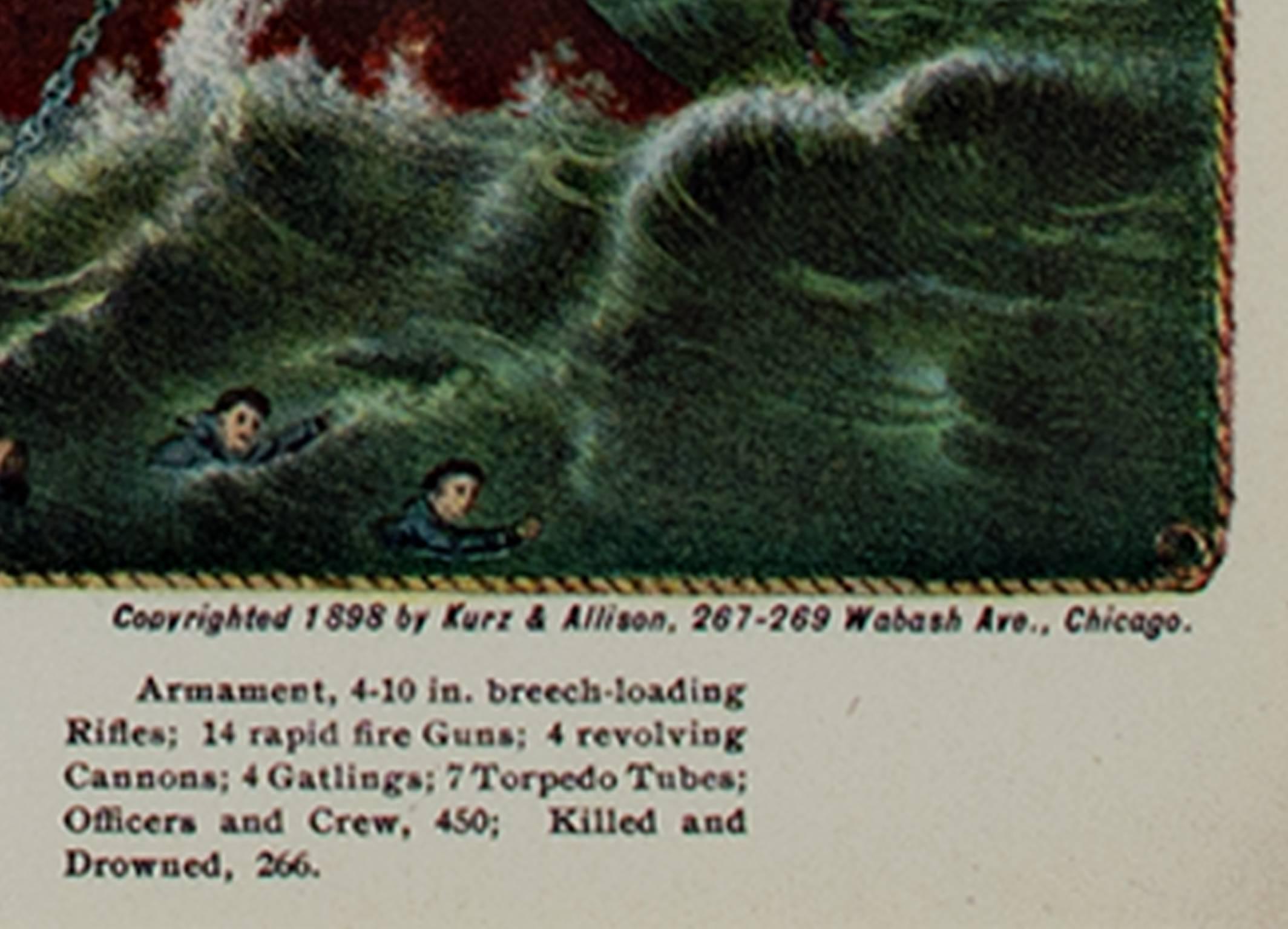 "BATTLESHIP MAINE/"" COLOR Print Lithograph 1972 Vintage Currier /& Ives /""THE U.S"