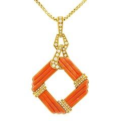 Kurz Coral and Diamond Pendant