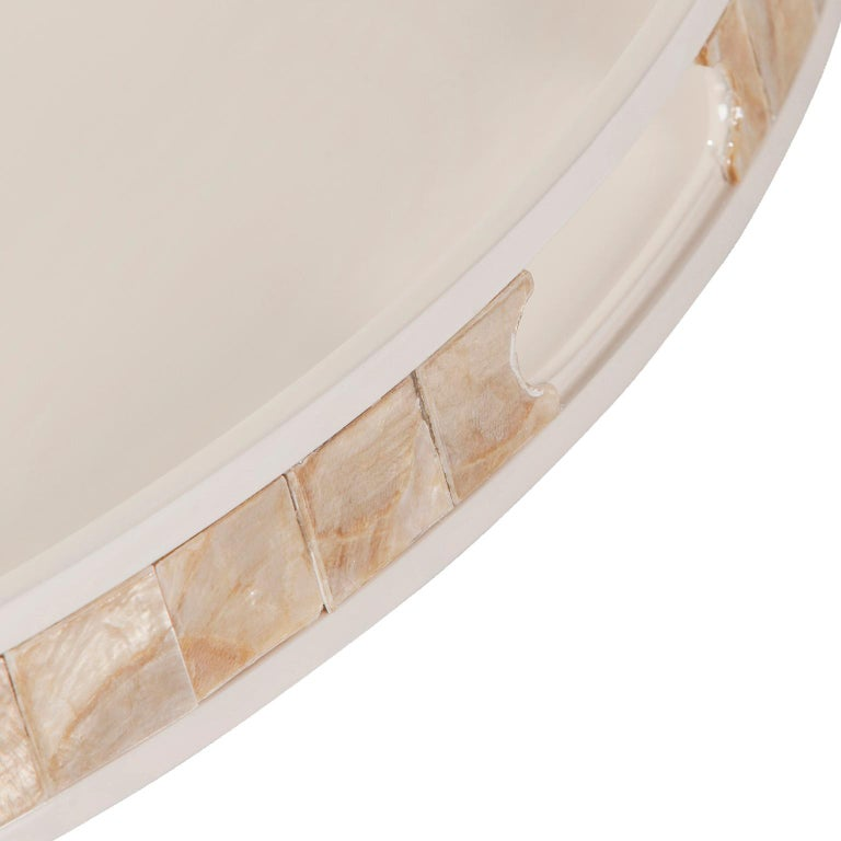 Portuguese Kushiro L Round Tray Wooden Cream Lacquered Nacre Applied by Hand For Sale