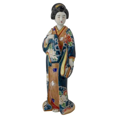 Kutani Porcelain Figure of a Bijin, circa 1890, Meiji Period
