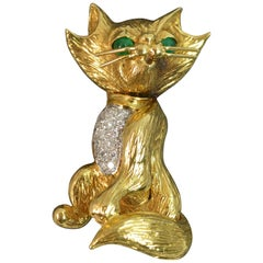Kutchinsky 18 Carat Gold Diamond Emerald Cat Brooch