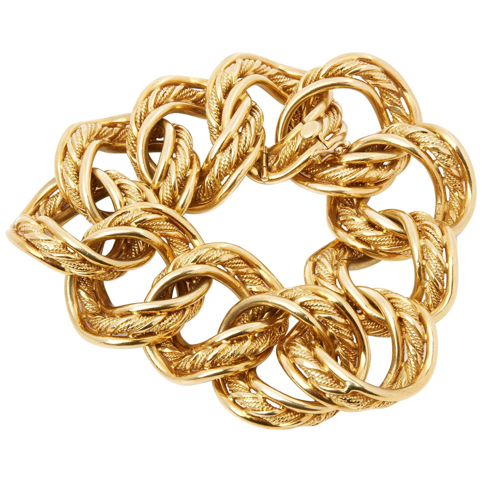 Kutchinsky 18 Karat Yellow Gold 1960s Heavy Link Vintage Bracelet