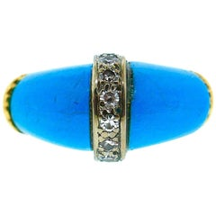 Kutchinsky 18 Karat Yellow Gold Diamond Turquoise Ring