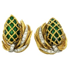 Kutchinsky 18 Karat Yellow Gold Ladies Clip-On Earrings with Enamel and Diamonds