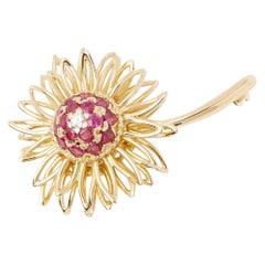 Kutchinsky 18 Karat Yellow Gold Ruby and Diamond Vintage Brooch