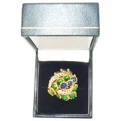 Kutchinsky 18 Karat Yellow Gold with White Diamond Enamel Ring