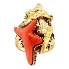Kutchinsky Carved Coral and Gold Starfish Ring 1972
