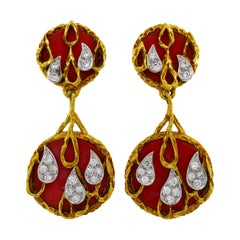 Kutchinsky Coral Diamond Gold Earrings