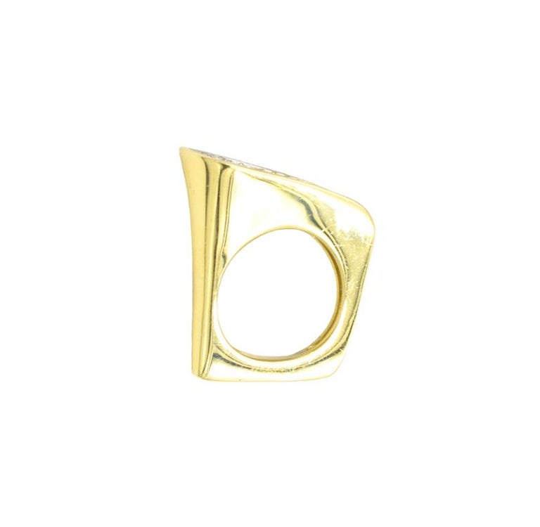 Kutchinsky Modernist diamond ring.  Approximately 2 carats of G-H VS round brilliant cut diamonds.  Signed