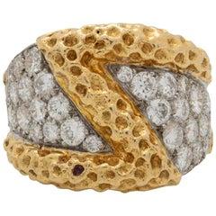 Kutchinsky Hand Forged 18K Yellow Gold and 2.80 Carat, Diamond Ring, circa 1970s