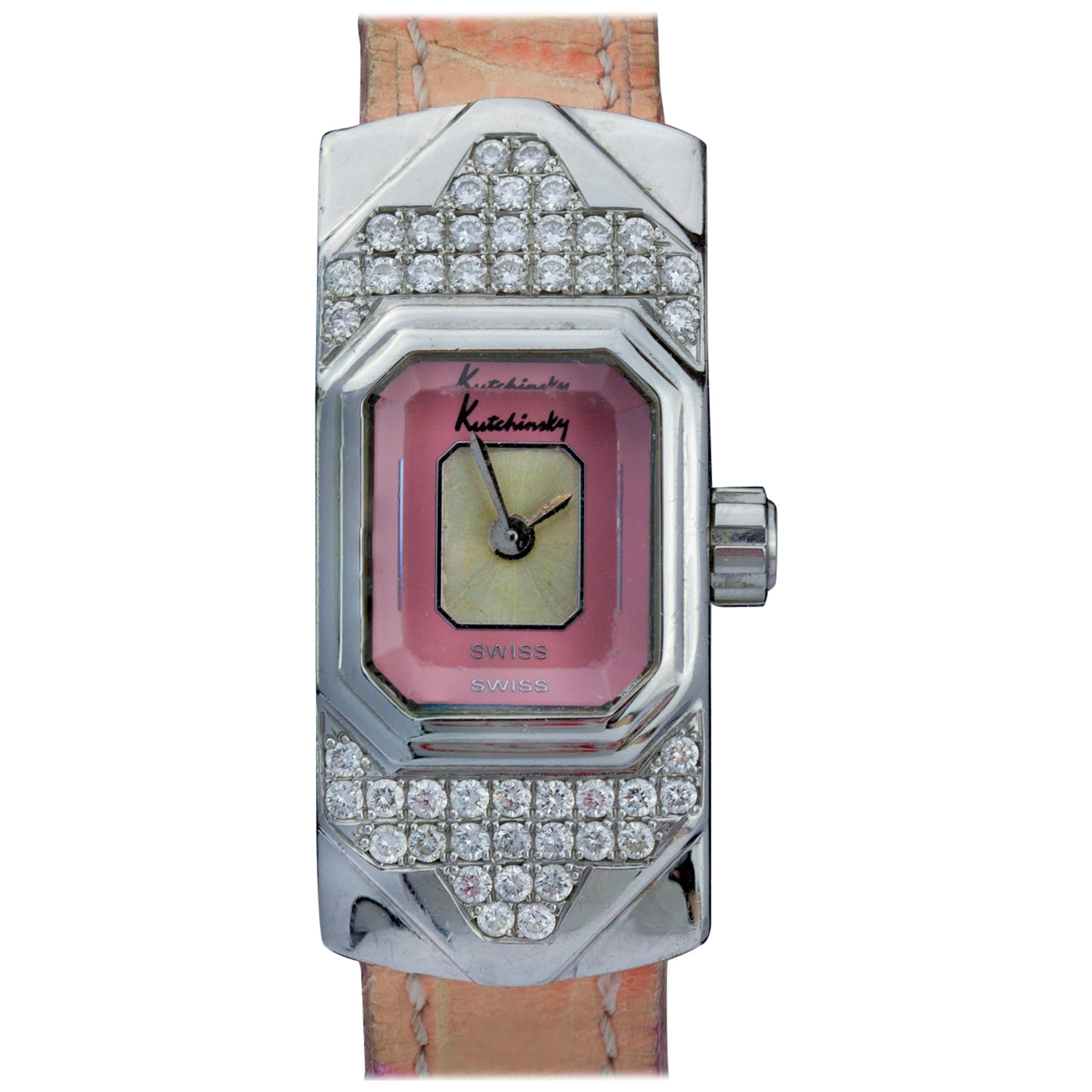 Kutchinsky Ladies Wristwatch Featuring a Pink Dial and Diamond Decorated Case