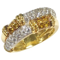 Kutchinsky London Yellow Gold White and Fancy Color Diamond Ring