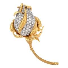 Kutchinsky Midcentury Vinatge Diamond Rose Bud 18 Karat Gold Brooch Pin