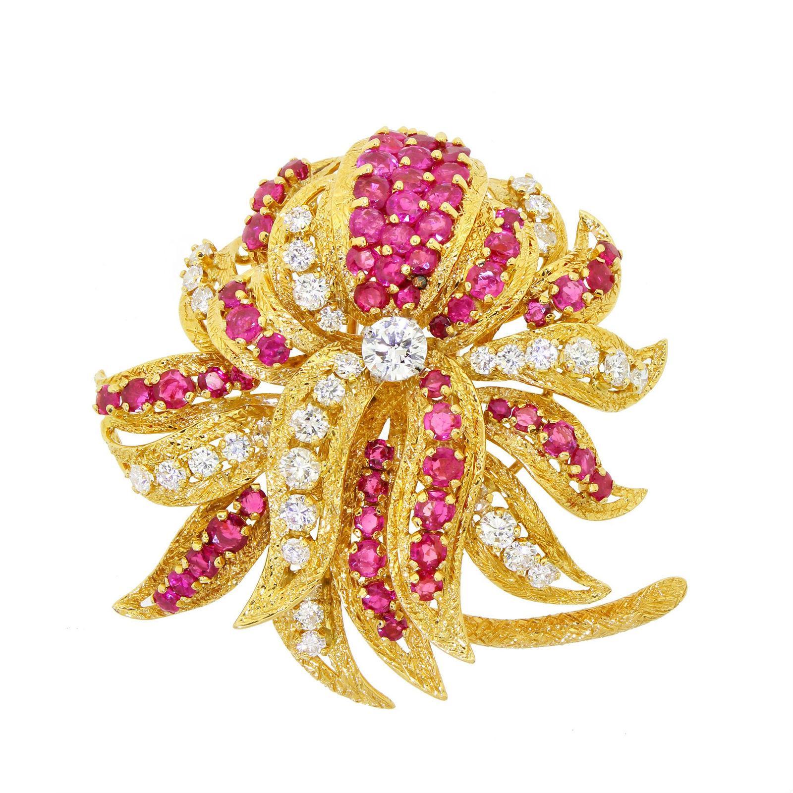 Kutchinsky Of London 18k Gold Diamond Ruby Floral Cluster Brooch 10.60 Carat