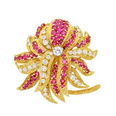 Kutchinsky Of London 18k Gold Diamond Ruby Floral Cluster Brooch 10.60 Carat