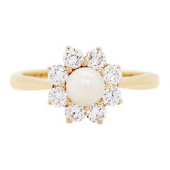 Kutchinsky Pearl and Diamond 18 Carat Yellow Gold Cluster Flower Ring, 1983