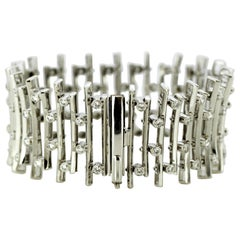 Vintage 18 Karat White Gold Ladies Bracelet with Diamonds, 1970s