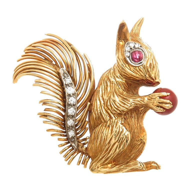 Kutchinsky Yellow Gold and Gem Set Squirrel Brooch