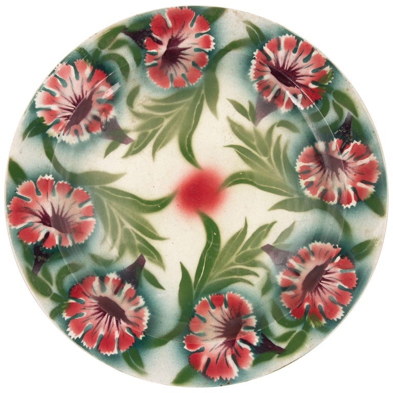 Kuznetsov Ceramic Plate, Russia, Early 20th Century For Sale