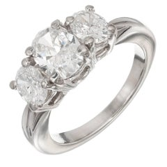 Kwiat 1.03 Carat Oval Diamond Three-Stone Platinum Engagement Ring