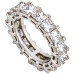 Kwiat 7.00 Carat Platinum Princess Cut Diamond Eternity Band Ring