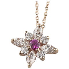 Kwiat Diamond and Pink Sapphire Star Pendant 18k Rose Gold Cristie Kerr w/ Chain