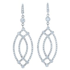 Kwiat Diamond Drop Earrings from the Contorno Collection in 18 Karat White Gold