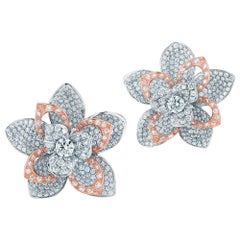 Kwiat Diamond Flower Earrings from the Lotus Collection 18k White and Rose Gold