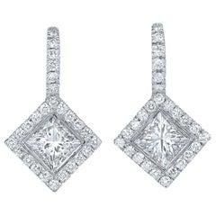 Kwiat Princess Cut Diamond Halo Drop Earrings in 18 Karat White Gold