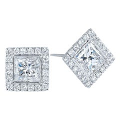 Kwiat Princess Cut Diamond Stud Earrings from the Silhouette Collection
