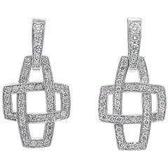 Kwiat Round Diamond Crossover Drop Earrings
