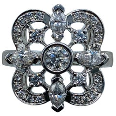 Kwiat White Gold and Diamond Floral Coctail Ring Size 5.25