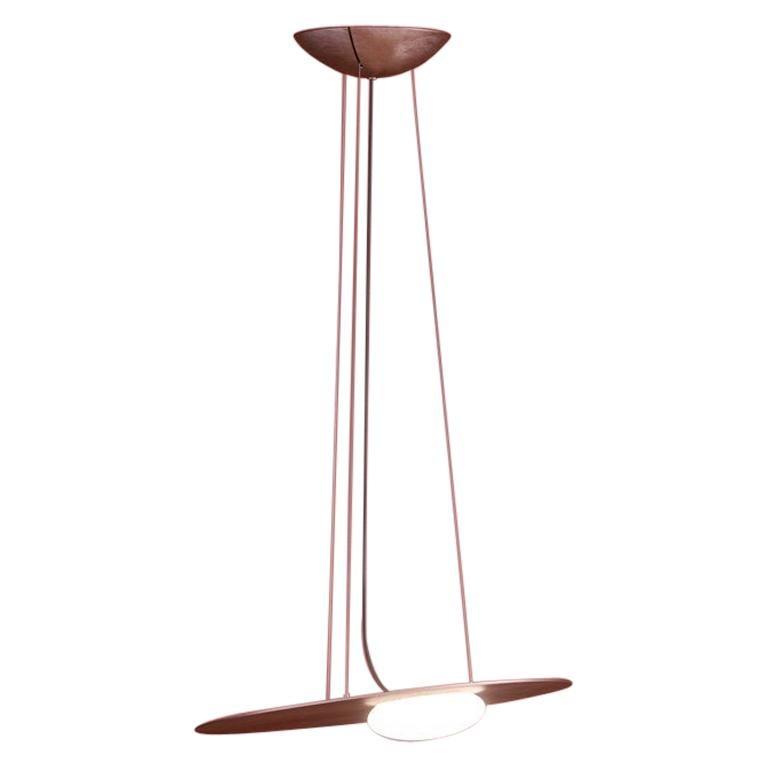 Kwic Modern Italian Minimalist Glass and Metal Pendant, Black or Bronze, Small