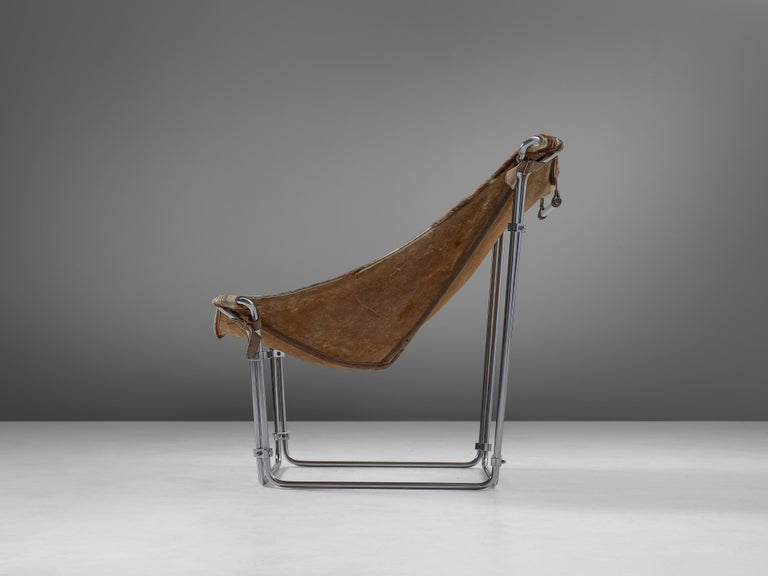 French Kwok Hoi Chan 'Buffalo' Lounge Chair in Cow Hide and Steel For Sale
