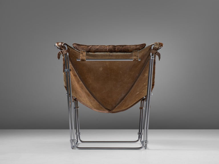 Mid-20th Century Kwok Hoi Chan 'Buffalo' Lounge Chair in Cow Hide and Steel For Sale