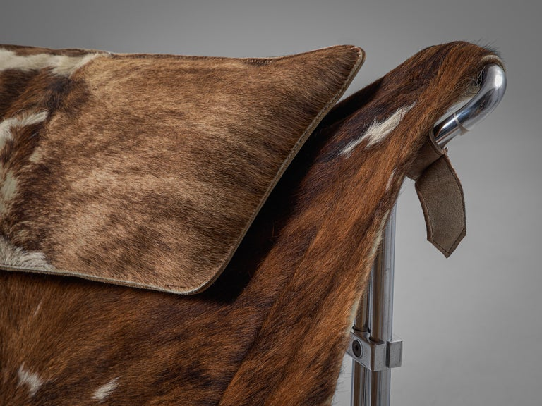 Kwok Hoi Chan 'Buffalo' Lounge Chair in Cow Hide and Steel For Sale 1
