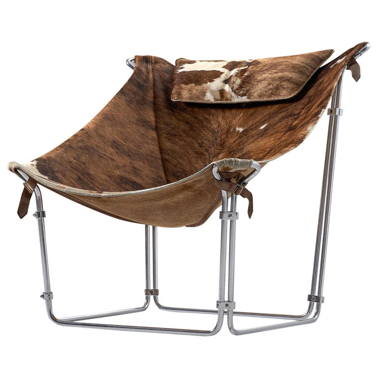 Kwok Hoi Chan 'Buffalo' Lounge Chair in Cow Hide and Steel For Sale