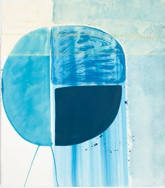 "Ky Anderson ""Blue Shield 18.7"" - Abstract Painting on Paper"