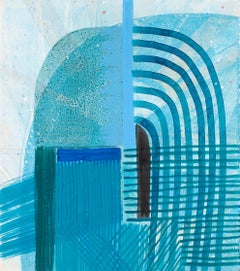 "Ky Anderson ""Shield 20.11"" Blue Abstract Painting on Paper"
