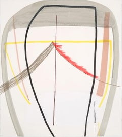 """Ky Anderson """"Warm Structure #1"""" - Abstract Painting on Paper"""