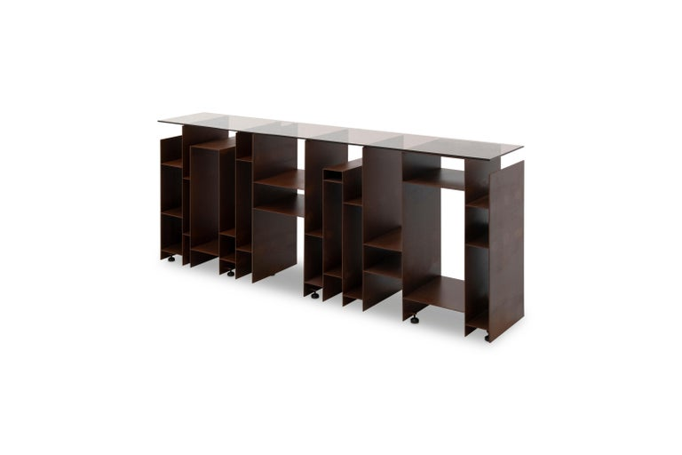 Modern Kyan Console with Bronze Glass Top and Iron Base For Sale