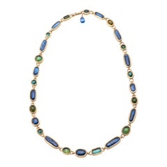 Kyanite and Tourmaline Lozenge Necklace
