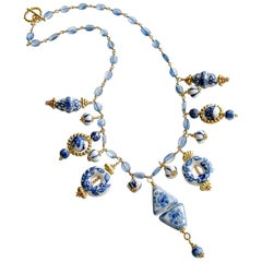 Kyanite Blue White Porcelain Bead Charm Necklace, Bluebelle Necklace