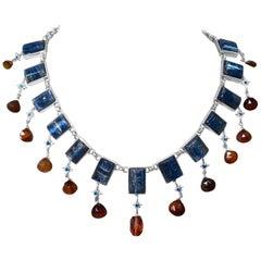 Stephen Dweck Kyanite, London Blue Topaz, and Orange Chalcedony Necklace