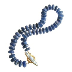 Kyanite Slices Choker Necklace Blue Chalcedony and Mother of Pearl Inlay Toggle