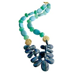 Kyanite Turquoise and Chrysoprase Statement Necklace, Lala II Necklace