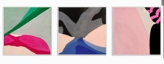 A set of three contemporary abstract gouache paintings Female artist Framed Red